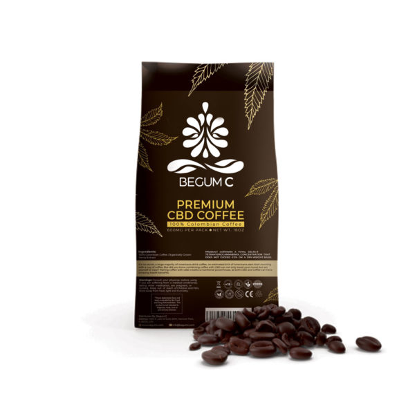 begum c, cod coffee pack, with coffee beans in front on a white background