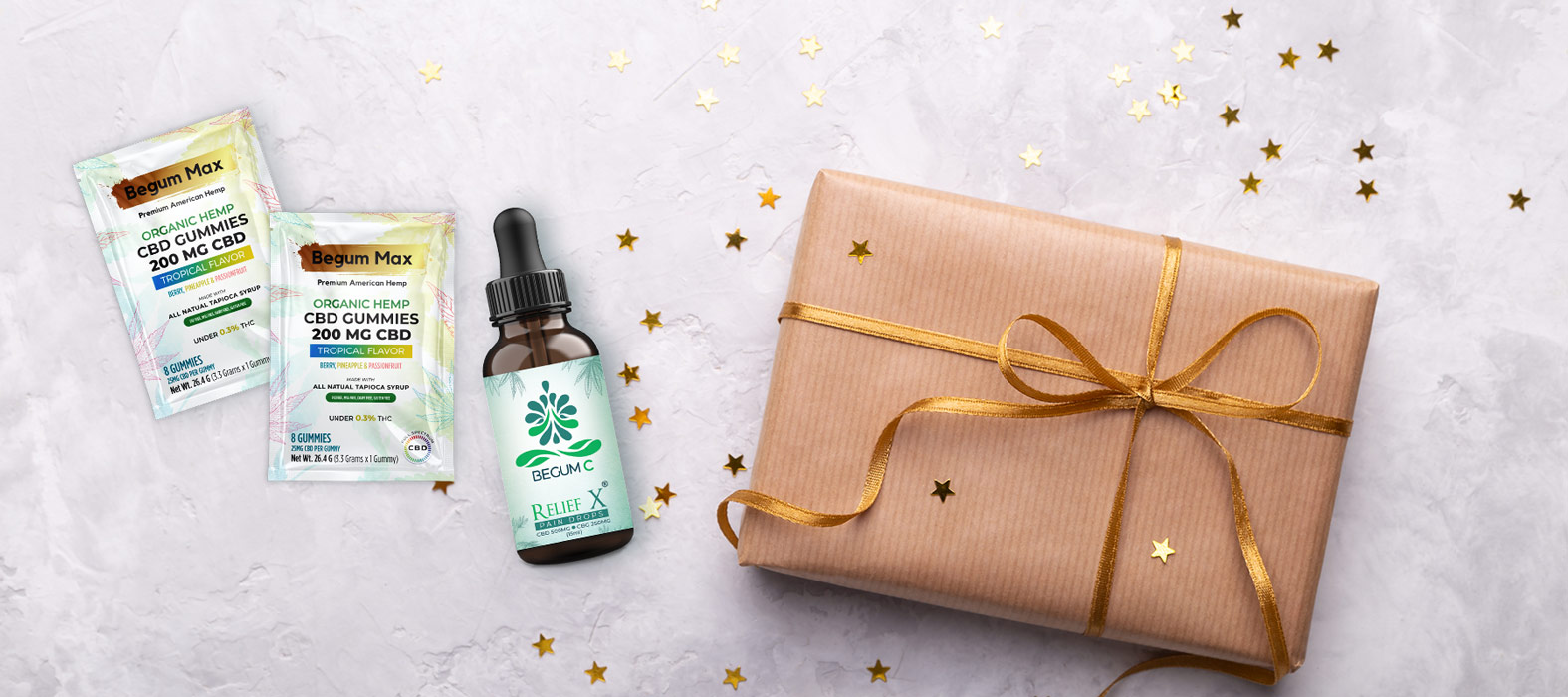 Gift pack of 2 tropical gummies sachets and a pain relief CBD tincture